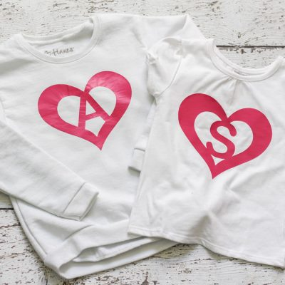DIY Heart Monogram Shirt with Heat Transfer Vinyl