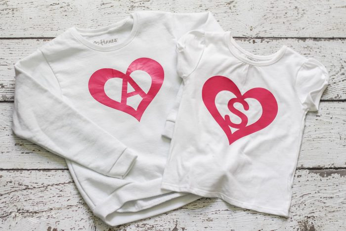 Such a cute project for a monogrammed shirt and so easy! | DIY Heart Monogram Shirt with Heat Transfer Vinyl