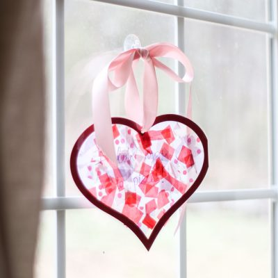 Tissue Paper Stained Glass Valentine's Kid Craft