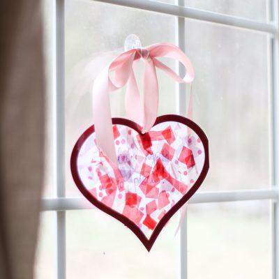Tissue Paper Stained Glass Valentine's Kid Craft