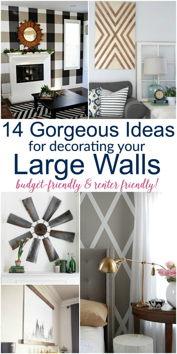 Large diy wall decor ideas lots of renter friendly for Home decorating ideas large wall