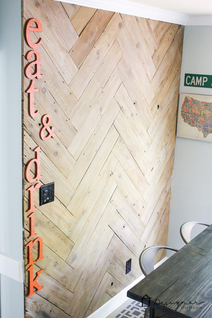 Gorgeous DIY Herringbone Planked Wall from Designer Trapped in a Lawyer's Body