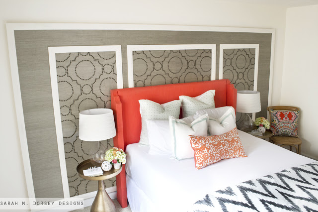 Grasscloth + Nailhead Feature Wall Tutorial from Sarah M. Dorsey Designs