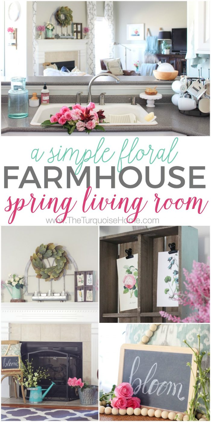 Isn't this just the prettiest pink and turquoise mantel?! Simple Floral Farmhouse Spring Mantel