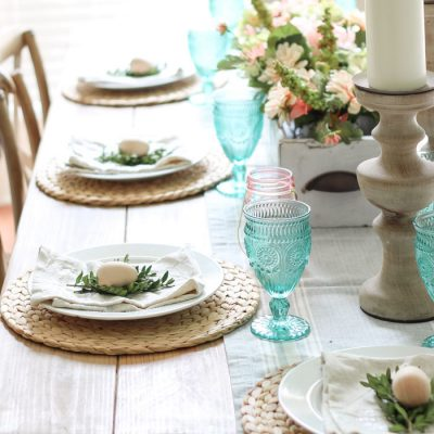 Simple Spring Tablescape and Entry Way