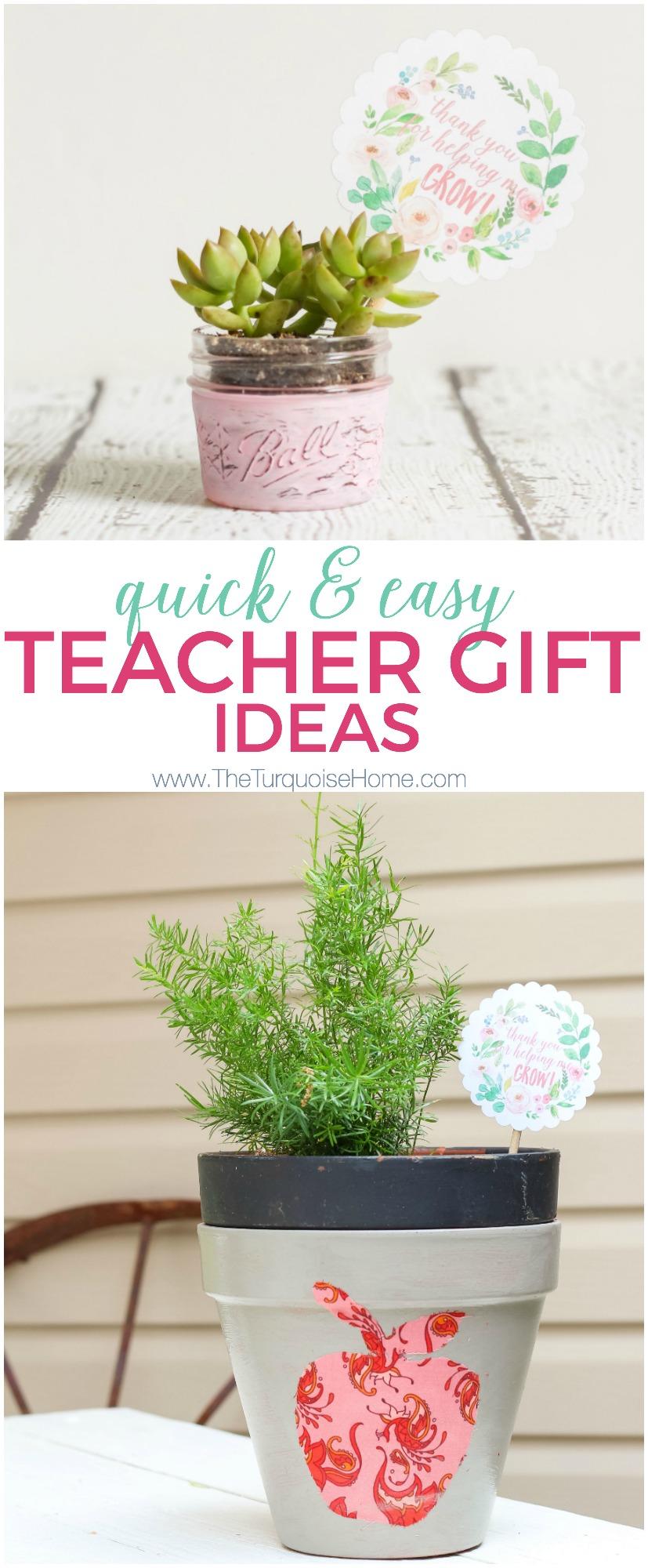 Easy Diy Planter Teacher Gift Ideas Free Printable Tag