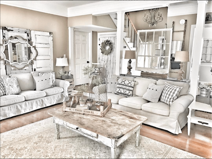 gorgeous layered farmhouse living room bless this nest e1492537224500 - Get Small Farmhouse Living Room Design  Pics