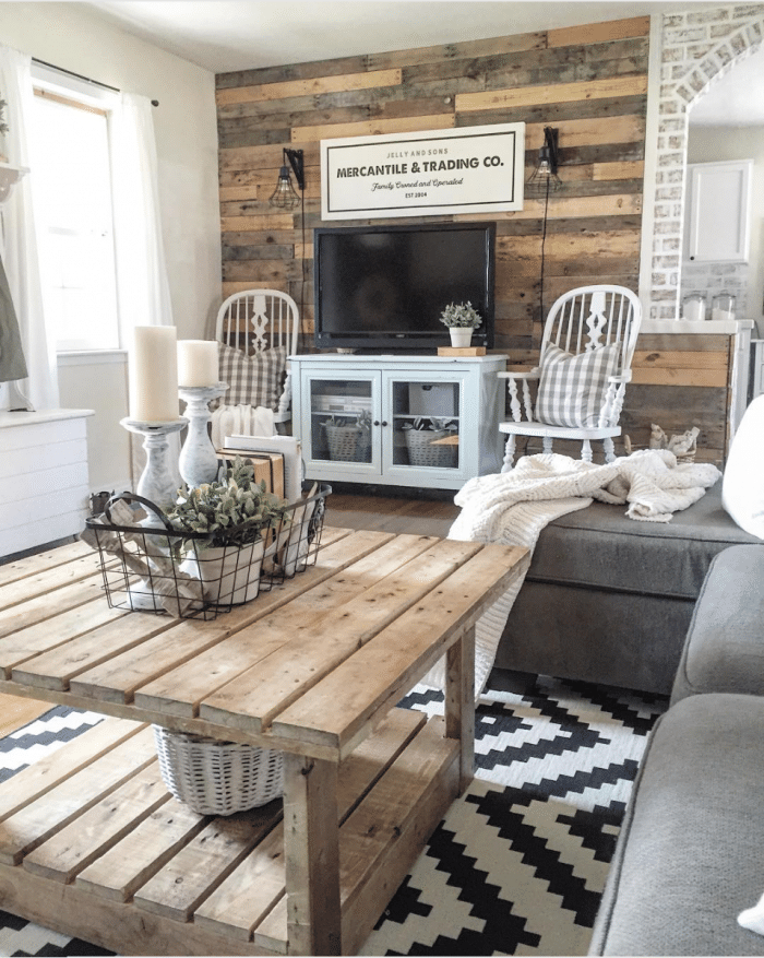 a natural wood farmhouse living room from the rustic pallet 10 stunning farmhouse living rooms - Modern Farmhouse Living Room