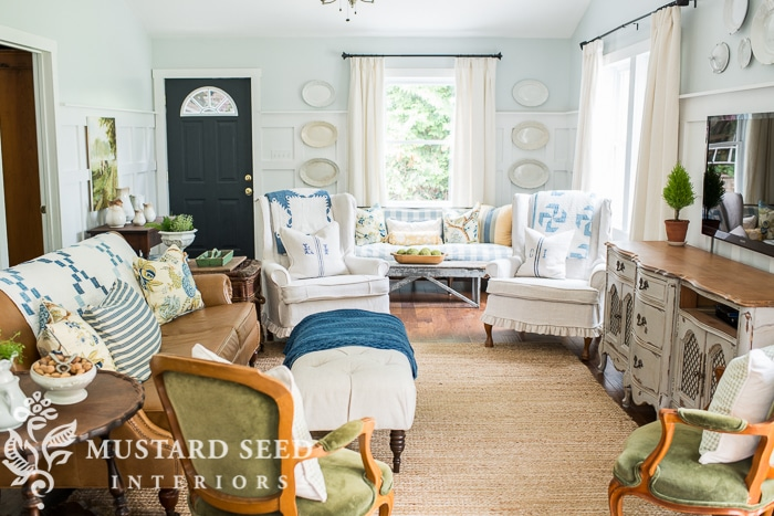 A Simple Blue & Green Living Room from Miss Mustard Seed | 10 Stunning Farmhouse Living Rooms