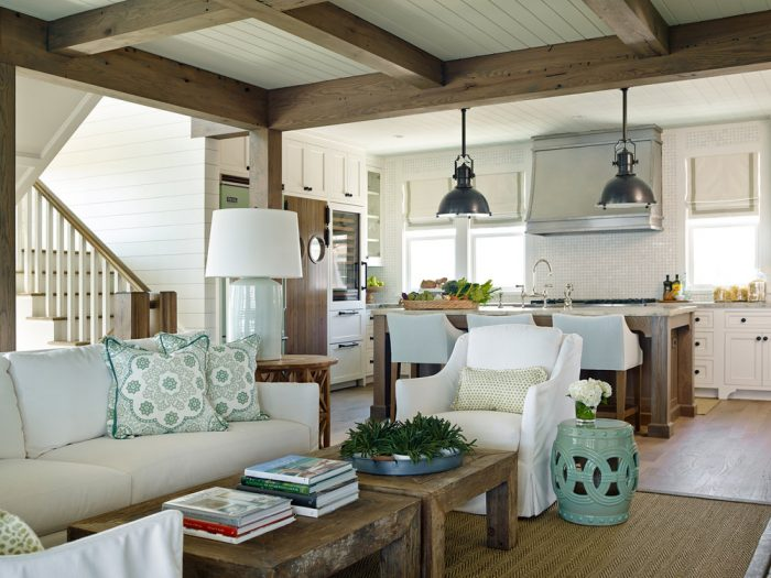 The beams, the pendants, the pops of turquoise and the shiplap! Swoon!!