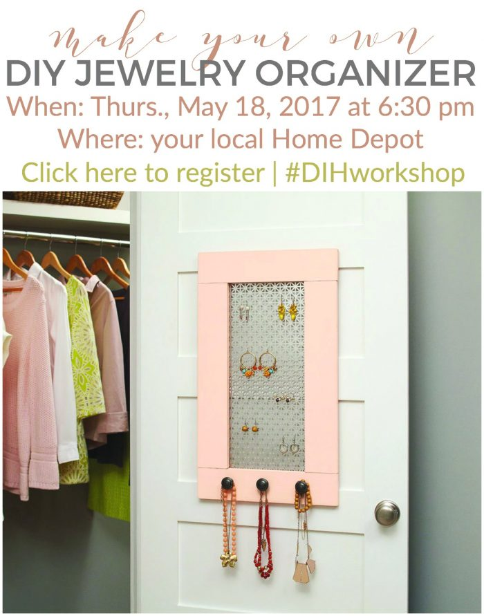 DIY Jewelry Organizer Home Depots DIH Workshop Save the Date