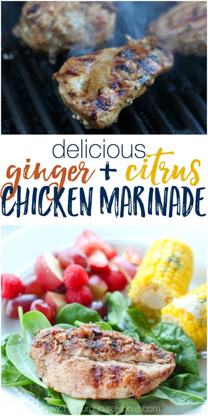 This ginger and citrus marinade pairs perfectly with grilled chicken. The marinade is an easy essential oil recipe that tastes amazing!! Grab this and 9 other ways to rock your next cookout with essential oils!