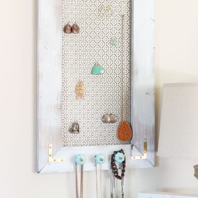 A Distressed Industrial DIY Jewelry Organizer