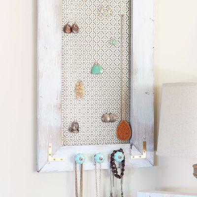 A Distressed Industrial DIY Jewelry Organizer