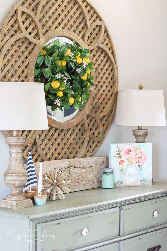 Cute Lemon Wreath and Summer Entry Way