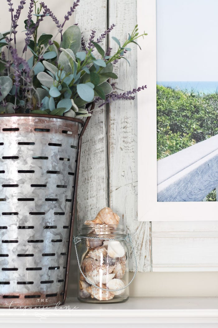 Simple Beachy Summer Mantel | Seasonal Simplicity Home Tour