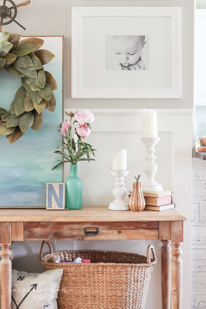 Sweet and Gorgeous navies and turquoise in this Simple Summer Home Tour