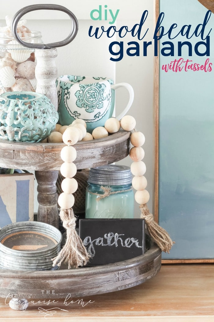 Diy Wood Bead Garland With Tassels The Turquoise Home