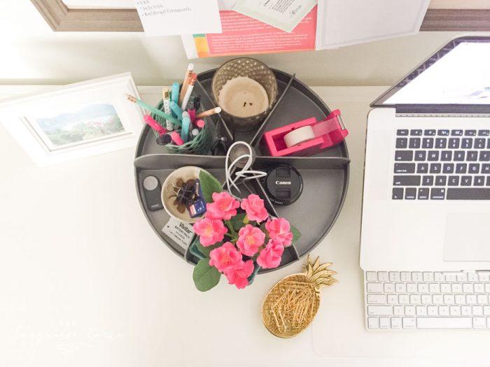 My new hardware bin lazy susan from World Market keeps my desk organized!!