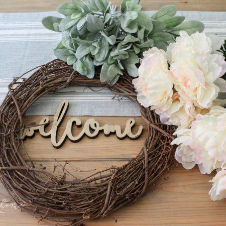 DIY Lamb's Ear and Peony Wreath