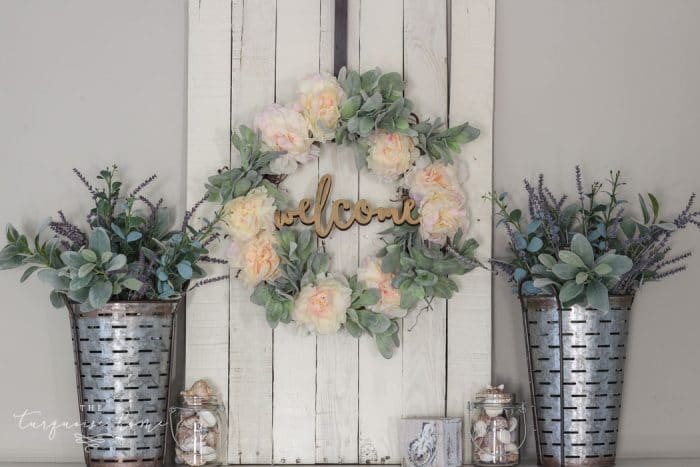 A Lamb's Ear Wreath with peonies and a welcome sign! Perfect for any farmhouse decor!