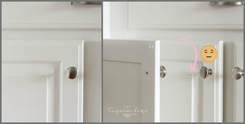 These DIY Painted Kitchen cabinets are holding up so well, except for a couple little dings here and there!