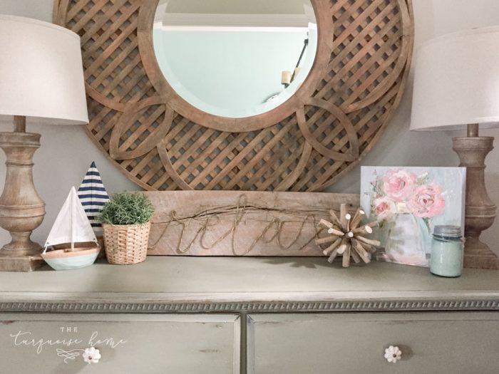 My summer console table in the foyer is a favorite spot!