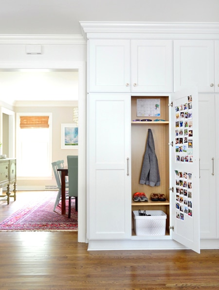 Hidden Mudroom Ideas in a Kitchen - with a wall of cabinets!