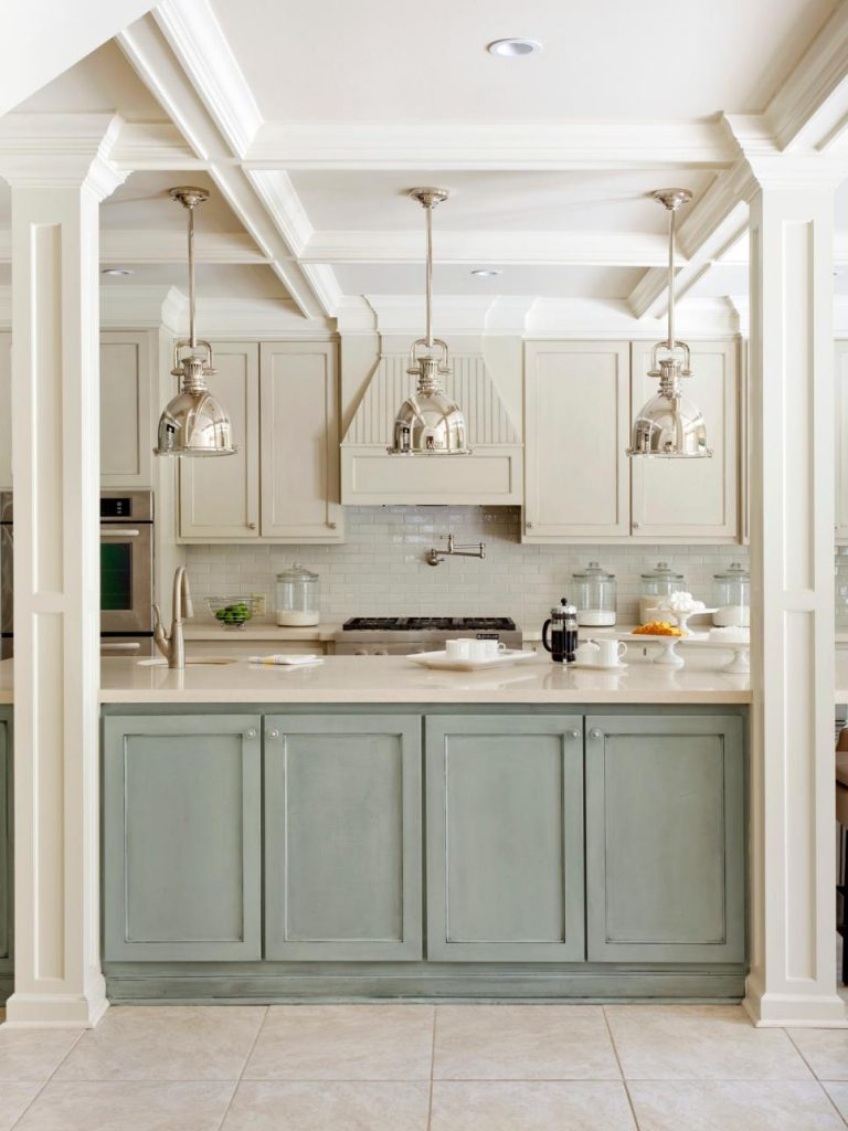 14 colorful kitchen island ideas the turquoise home for Duck egg blue kitchen island