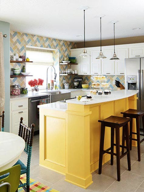 14 colorful kitchen island ideas the turquoise home for Better homes and gardens kitchen island ideas