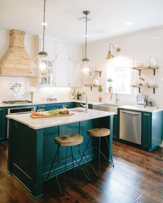 Dark Teal Kitchen Island From Joanna Gaines