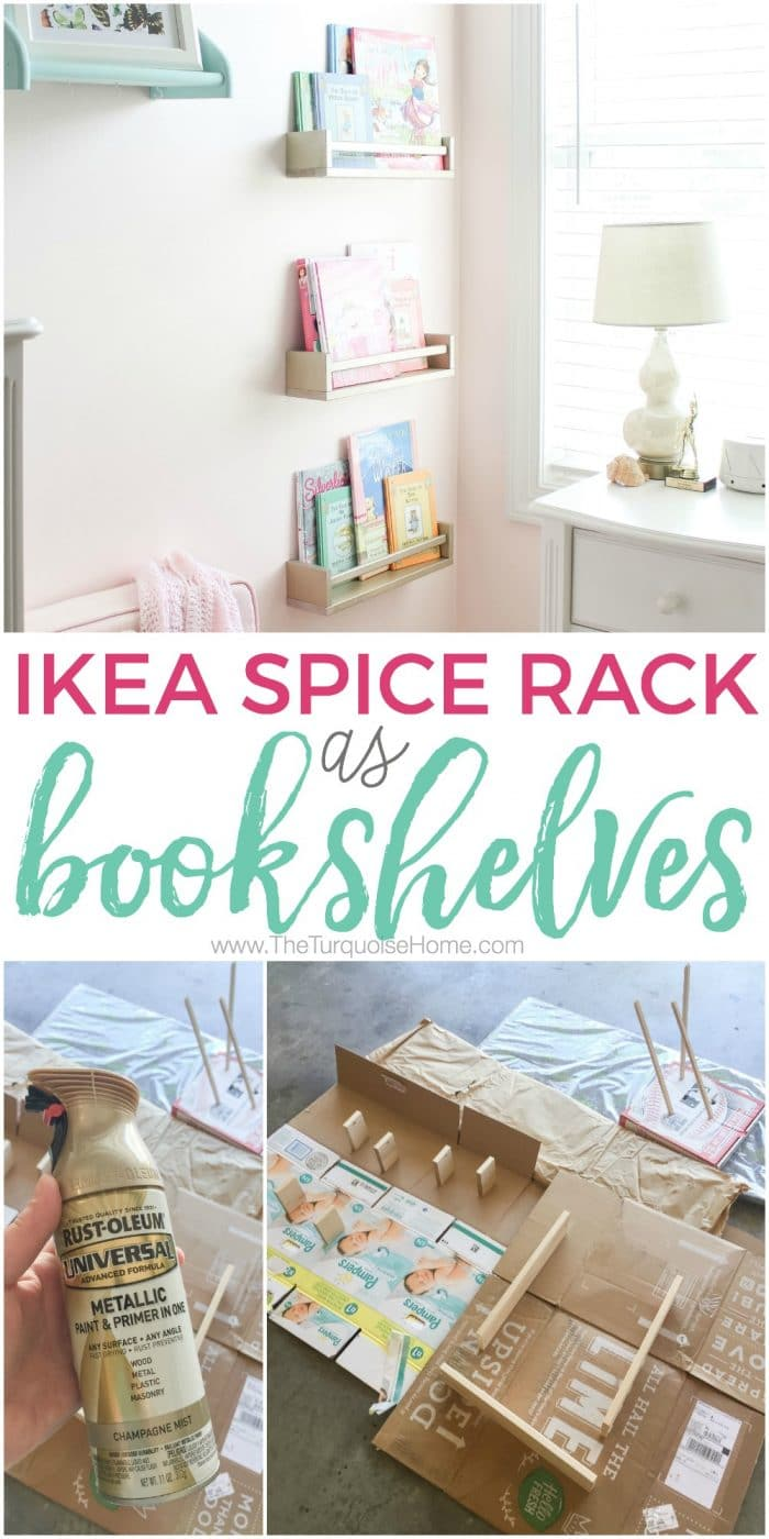 These Ikea Spice Racks make awesome bookshelves for less than $5! Click to get the full tutorial.