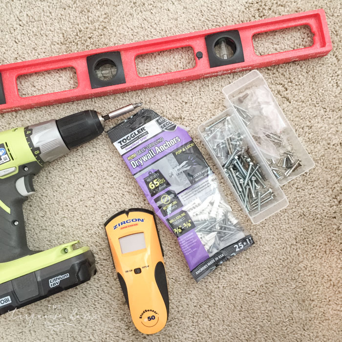 Putting up my Ikea Spice Rack bookshelves was no problem with these basic household tools. LOVE those wall anchors!