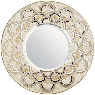 Capiz and Mirrored Tile Mirror from Pier 1 | This was the only mirror that's not wood, but I couldn't pass it up! Such a show stopper!! | 10 Large Round Mirrors We Love