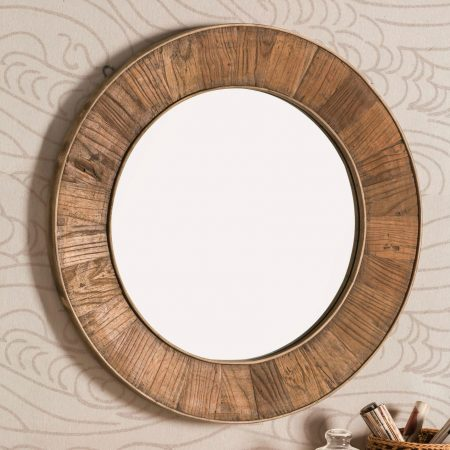 Recycled Wood Round Mirror from Target | This is an outdoor mirror, so that's a cool option, but would look great inside, too! | 10 Large Round Mirrors We Love!