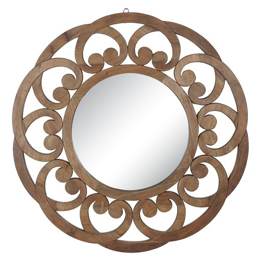 Scroll Border Wood Mirror from Overstock | Isn't this one just dreamy?? I might even like this better than the one I have in my entry way! 😉 | 10 Large Round Mirrors We Love!