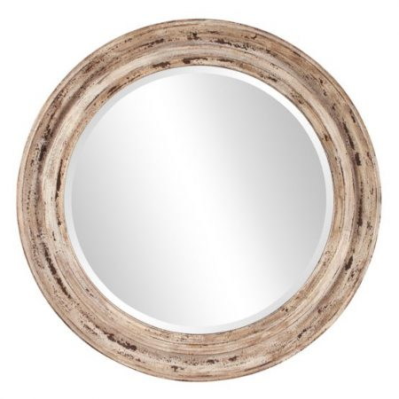 Elizabeth Austin Maisey Wall Mirror from Hayneedle | Love the finish on this one! It definitely would go with my coastal farmhouse style. | 10 Large Round Mirrors We Love!
