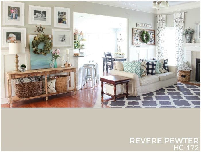 Revere Pewter is a wonderful transitional neutral with both warm and cool undertones. It goes with almost everything! | How to Create a Whole House Color Palette