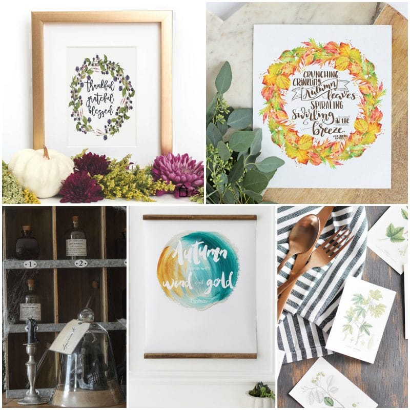 15 Free Fall Printables Tuesday poster.