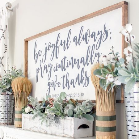 Simple Fall Mantel with a Farmhouse Sign
