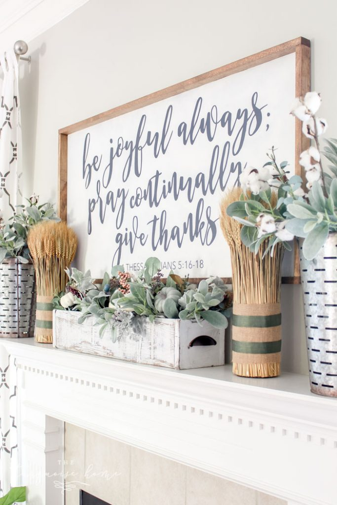 Simple Fall Mantel with Wheat Bundles and a DIY Large Sign