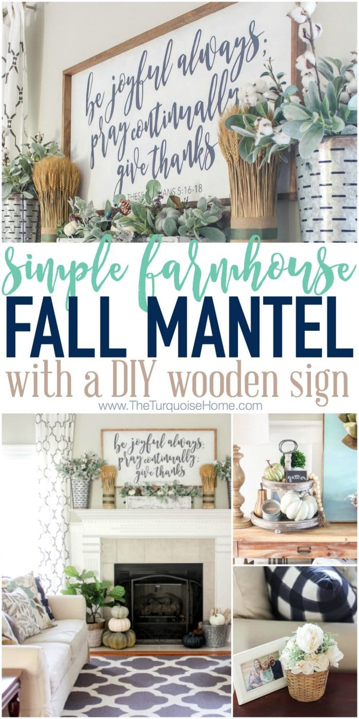Simple Fall Mantel With A Farmhouse Sign The Turquoise Home