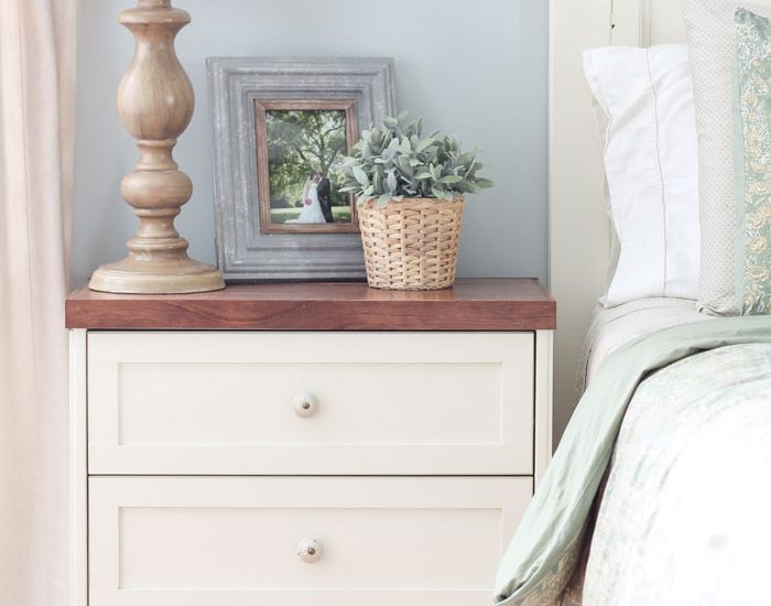Master Bedroom Paint Color - Palmetto Gray by Porter Paint   DIY Farmhouse Nightstand with Antique White from Sherwin Williams