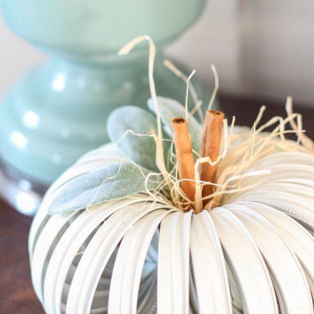 Mason Jar Lid Pumpkin Craft