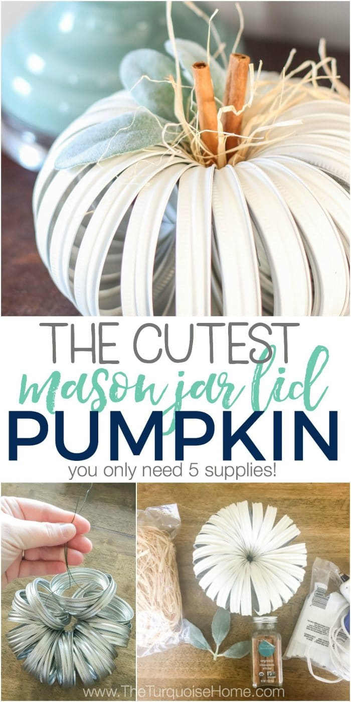 The cutest little farmhouse mason jar lid pumpkin you ever did see! Am I right? Click here for the full tutorial ... (it's so easy and just 5 supplies!)