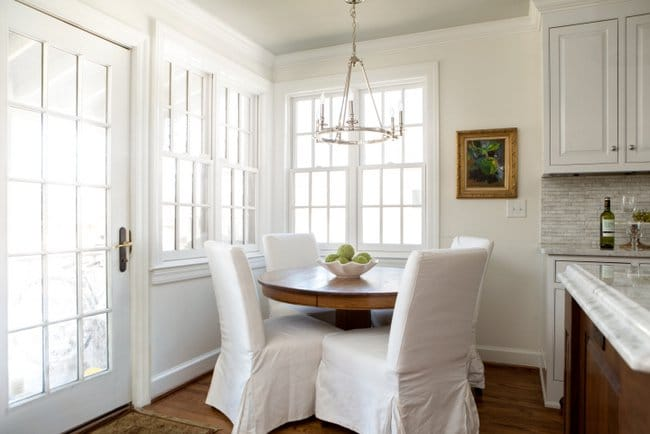 Lovely White Dove Paint Color in a Kitchen Nook | Top Favorite White Paint Colors