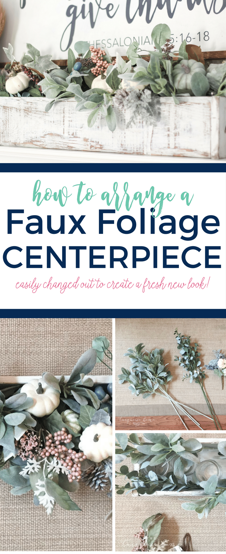 How to Arrange a Faux Foliage Centerpiece in a Wooden Box - so cute!!