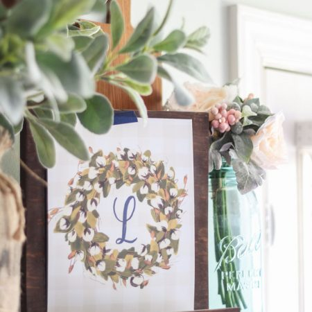Cotton Wreath Free Printable {with your monogram!}