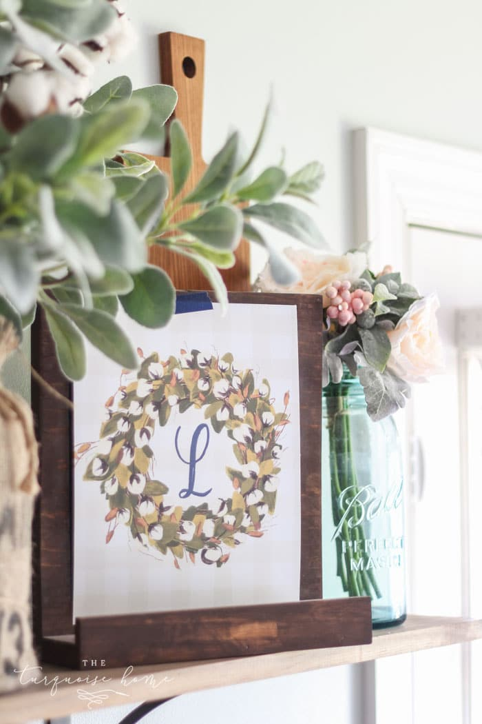 photograph relating to Free Printable Monogram identified as Cotton Wreath Totally free Printable with your monogram! The