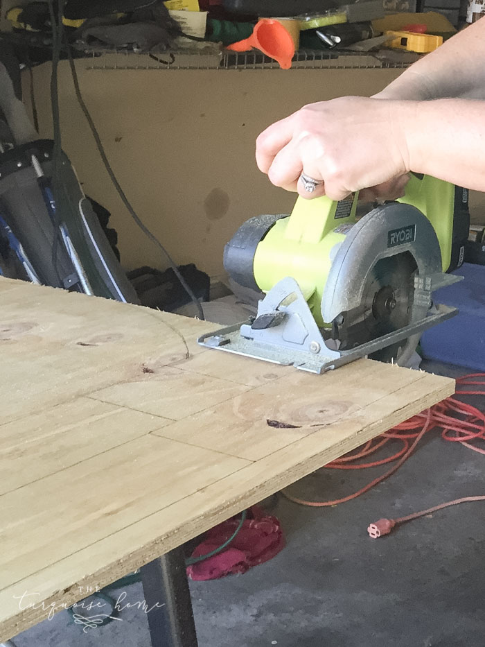 Step 2. Cut the pieces of your box with the circular saw. LOVE this saw from Ryobi.